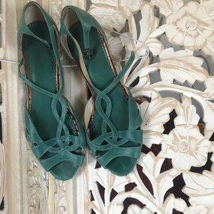 Turquoise Leather Clarks Artisan Wedge Sandals